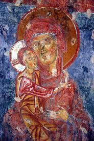 Affresco Maria e Cristo Bambino Chiesa S.Margherita Valsassina